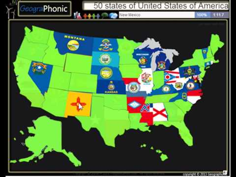 The 50 states of the United States of America, Alaska, Hawaii, California, Vermont, Illinois, Ohio