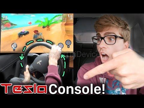tesla-model-3-game-console:-steering-wheel-controls-beach-buggy-racing-2!
