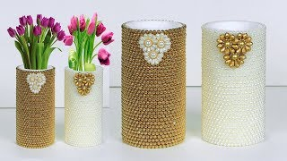How to Make A Flower Vase At Home || Paper roll Flower Vase || Home decor ideas