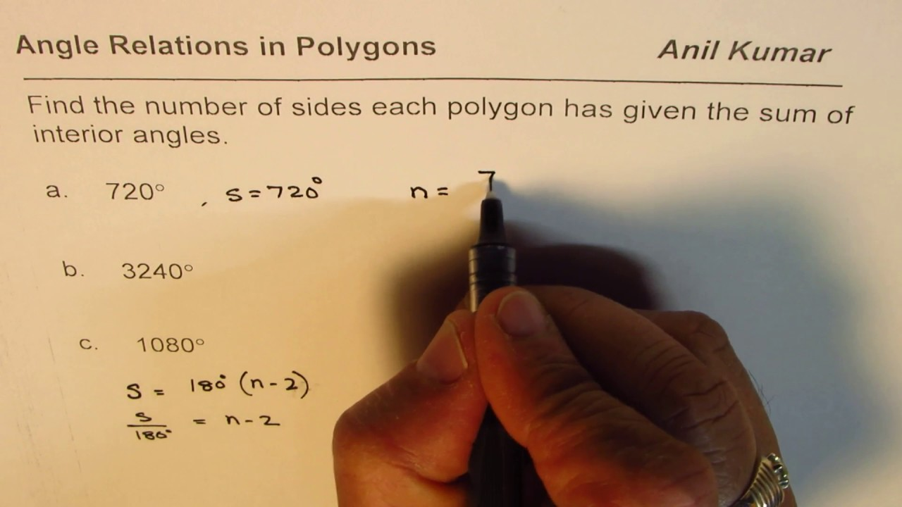 Find the Number of Sides of Polygon from Sum of Interior Angles