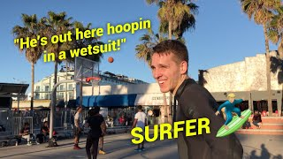 SURFER vs Skilled HOOPERS at Venice Beach! Crowd Goes CRAZY!