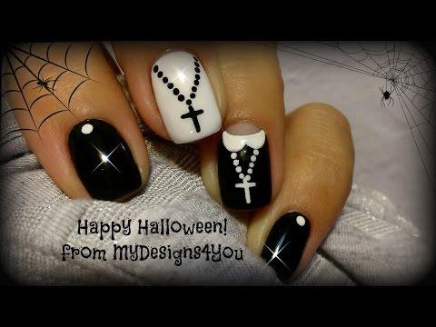 Halloween Nail Art Design | Fun 'Nun' Nails ♥ Uñas Para Halloween, Monja