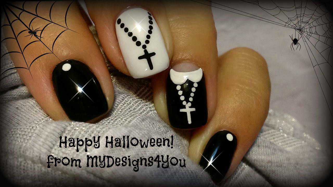 Halloween Nail Art Design | Fun \'Nun\' Nails ♥ Uñas Para Halloween ...