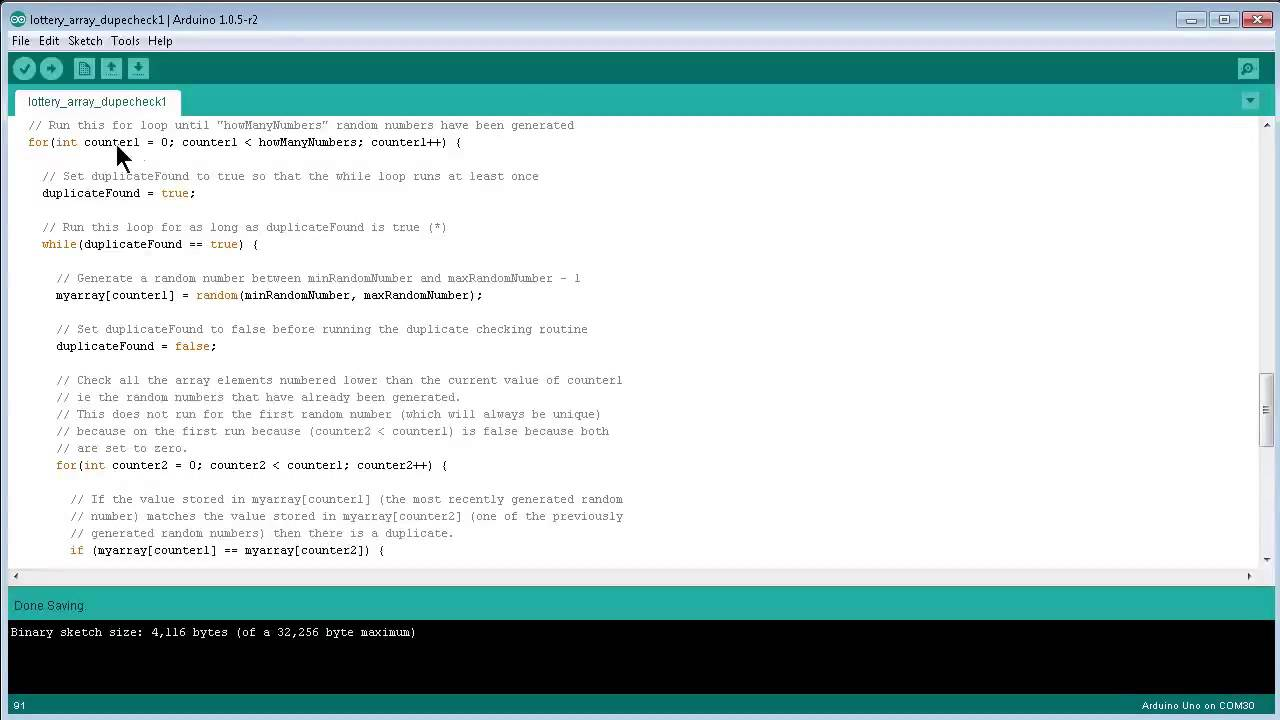 CTF3001 Arduino: random number generator with array and duplicate checking