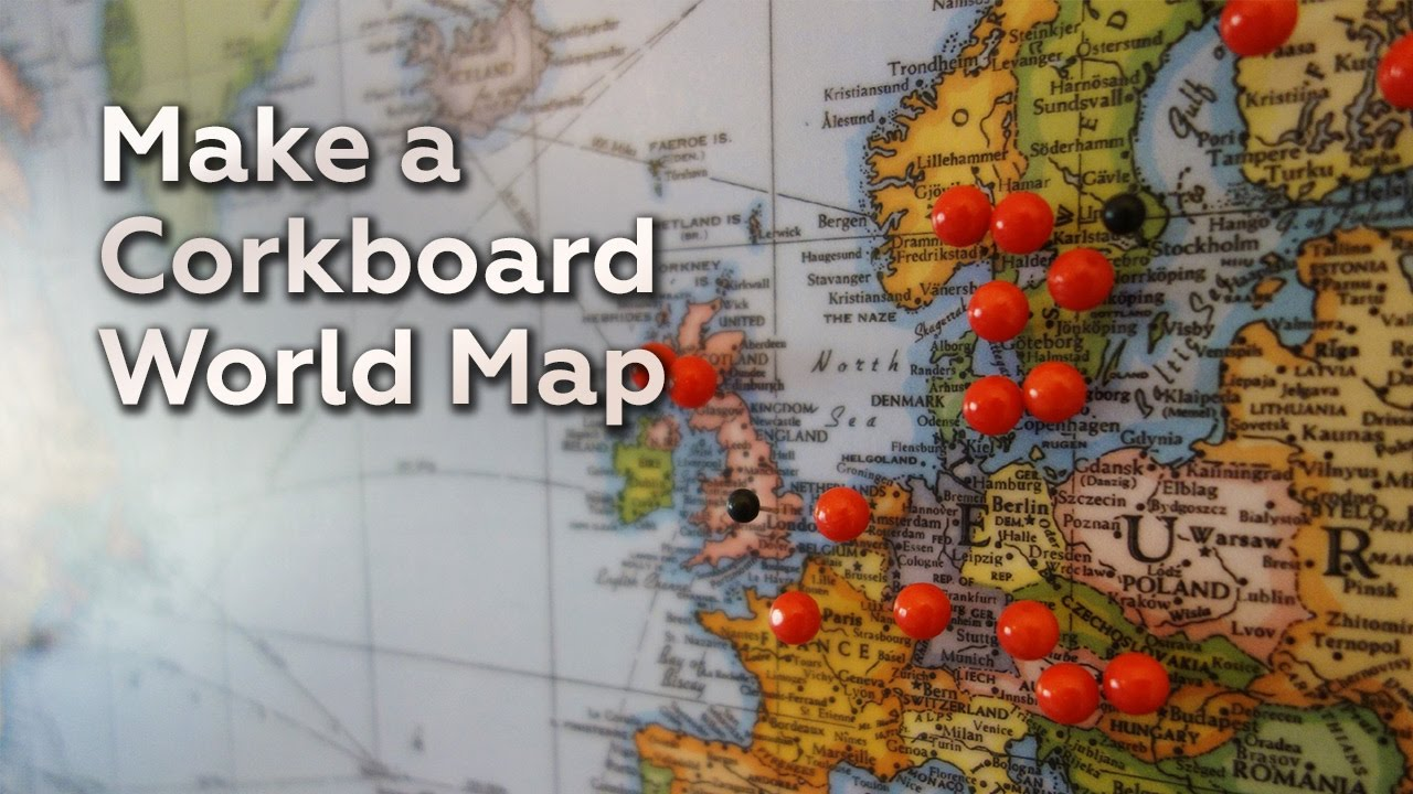 Make a corkboard world map youtube make a corkboard world map gumiabroncs Image collections