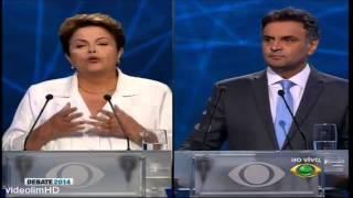 Debate BAND: Aécio zomba da pergunta confusa de Dilma