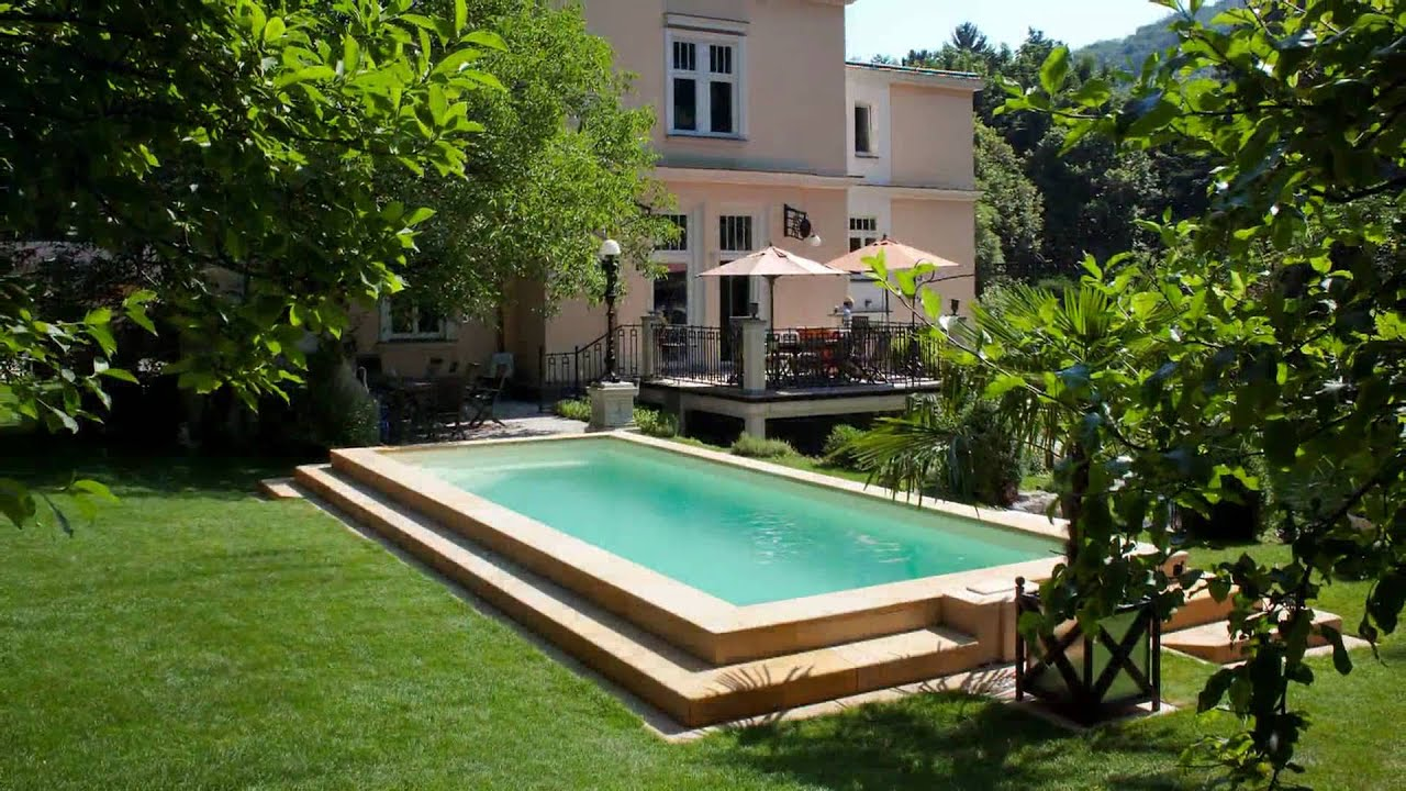 mediterraner garten mit swimmingpool youtube. Black Bedroom Furniture Sets. Home Design Ideas