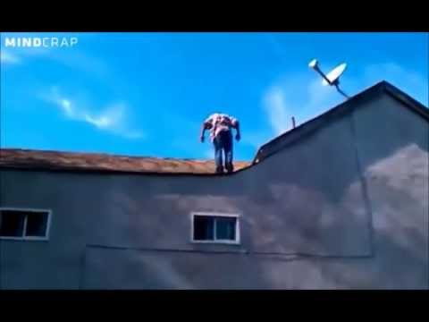 Crackhead does Back-flip off of 2 story house for $1.00