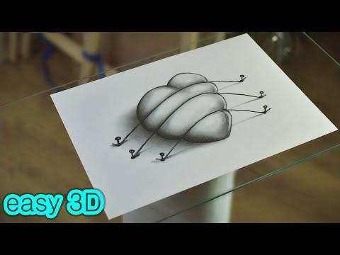Рисуем Простой 3D Рисунок за 15 минут  Сердце Карандашом / Draw a Simple 3D Heart in 15 minutes