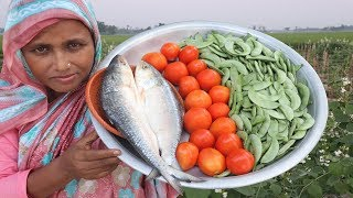 Bengali Sim Ilisher Jhol Recipe Farm Fresh Bean Cooking Yummy Bean & Hilsa Fish Curry Village Food