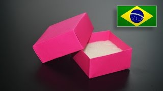 Origami: Caixa com tampa / Caixa de Jóias - Instruções em Português PT BR
