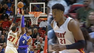 Hassan whiteside 30 pts 20 rebs! heat 10 game win streak! 76ers vs heat