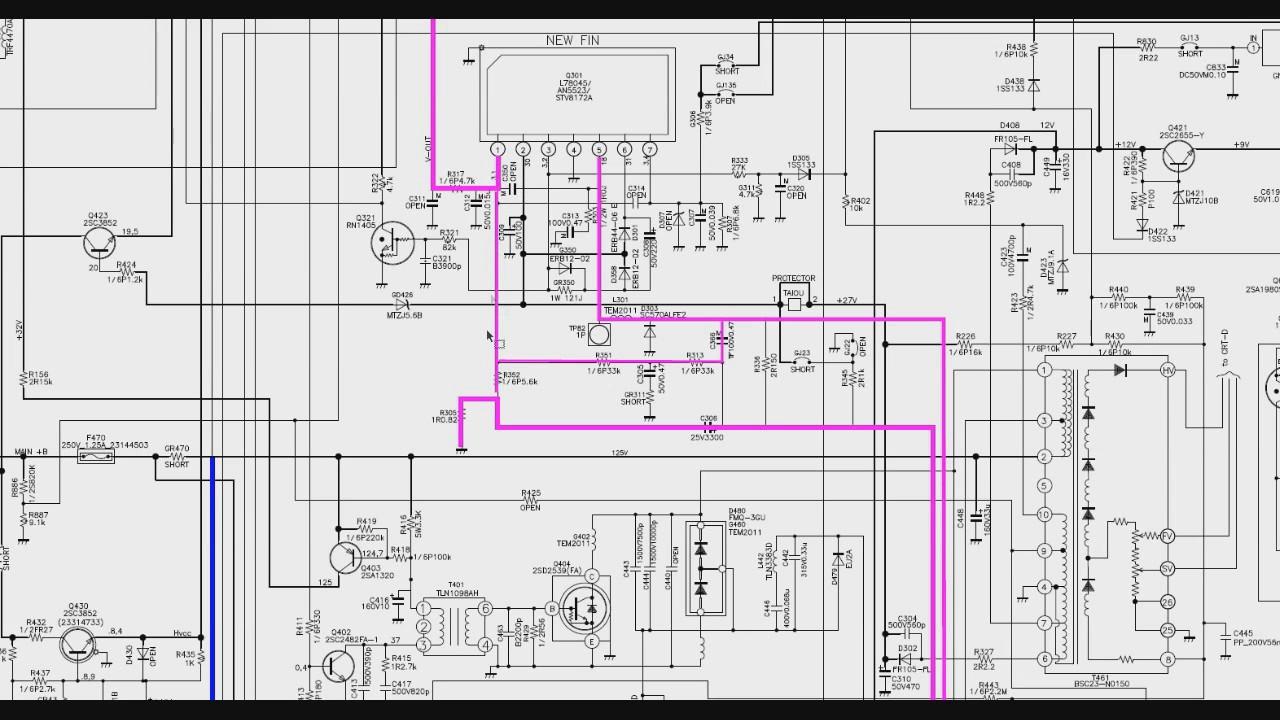 007 Circuito vertical de TV de tubo no esquema elétrico
