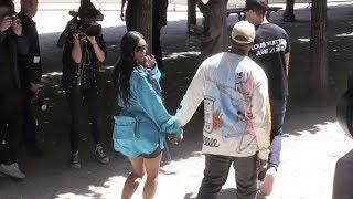 Kanye West, Kim Kardashian and Rihanna at the Louis Vuitton Menswear Fashion Show in Paris