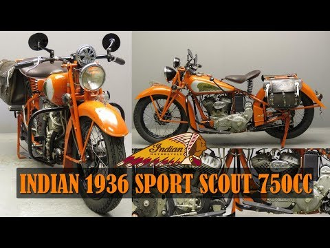 Antique Motorcycles INDIAN 1936 SPORT SCOUT 750 CC 2 CYL SV 2711