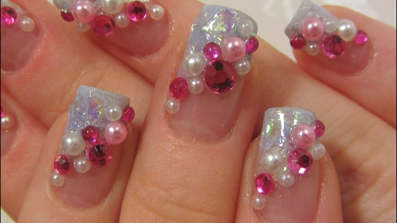 Japanese Pink and Light Blue Kawaii Design with Rhinestones and Half ...