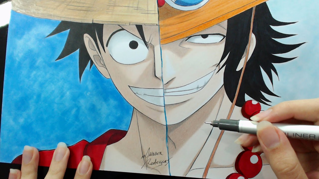 Speed Drawing Luffy And Ace One Piece Youtube