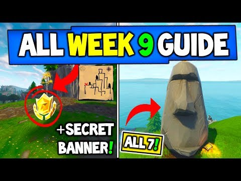 Fortnite WEEK 9 CHALLENGES GUIDE! – Treasure Map In ShiftyShafts + STONE HEADS Locations (Season 5)