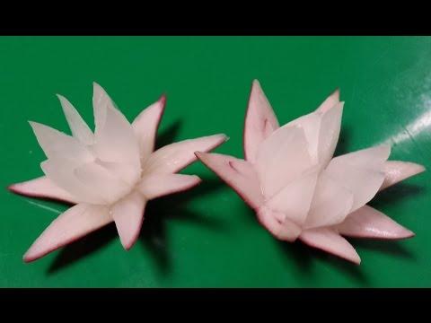 CÁCH TỈA HOA TRANG TRI TỪ CỦ CẢI ĐỎ/CARVING FLOWER FROM RADISHE-從水果雕花/BLUMEN SCHNITZEN .