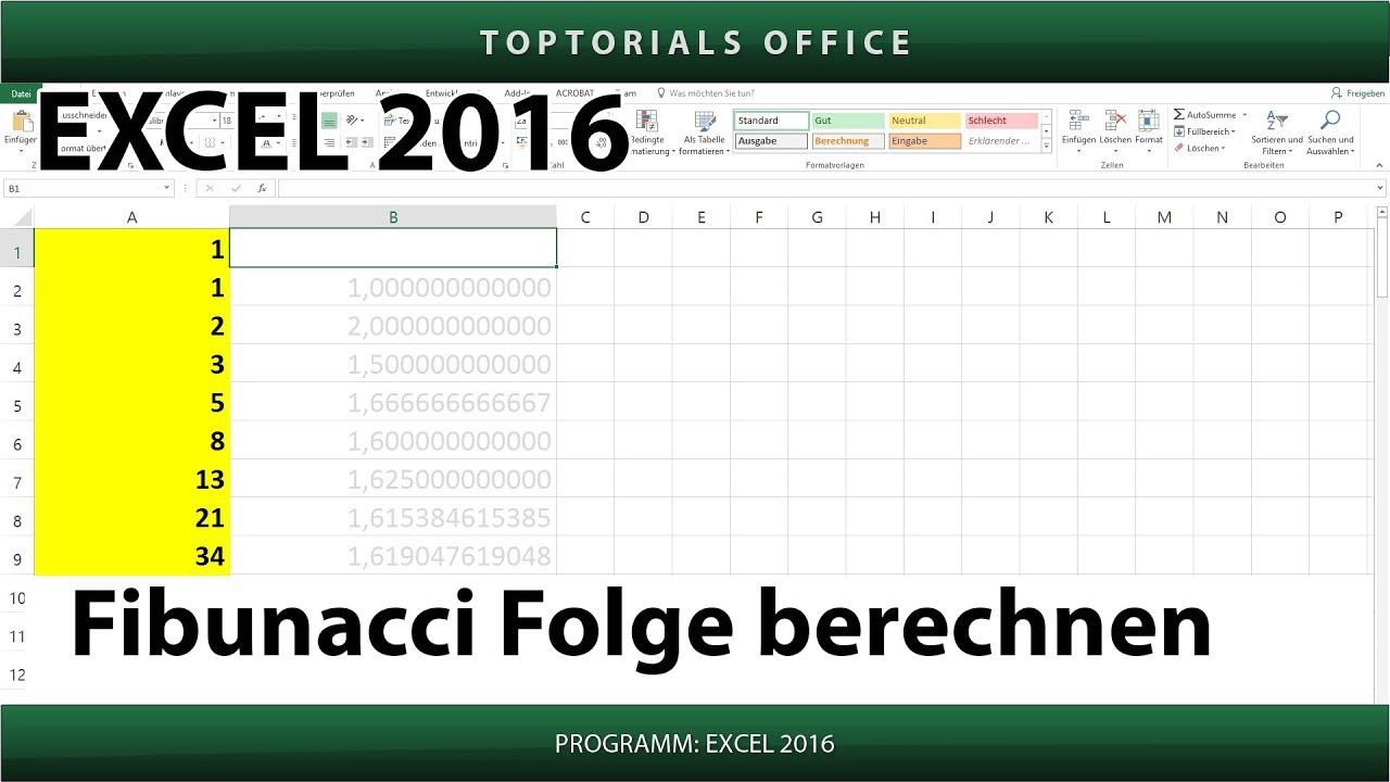 Fibunacci Folge berechnen (Excel)