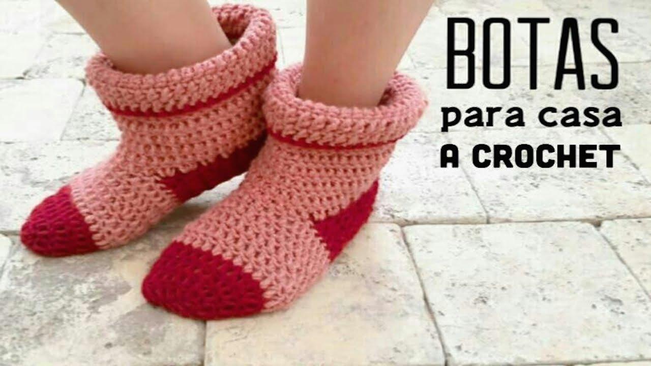 Botas para Casa a Crochet - PASO A PASO - YouTube