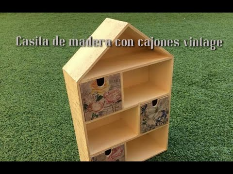 Casita de madera decorada DIY. Con acrílicos, papel de arroz