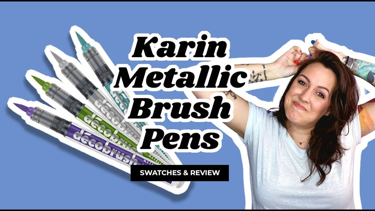 Karin Metallic Brush Pens Swatch Review On White And Black Paper