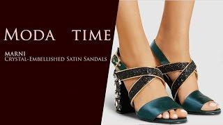 MARNI Crystal Embellished Satin Sandals