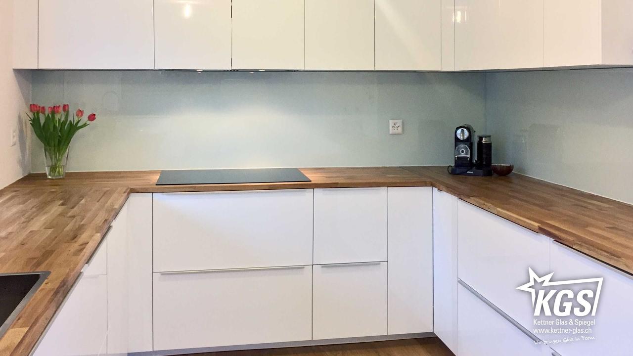 Weisse Glas-Küchenrückwand auf Floatglas-Basis - YouTube
