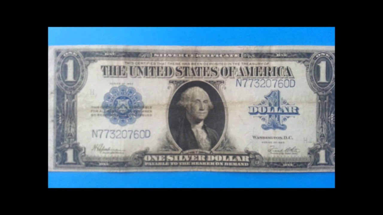 1923 1 silver certificate poker note blue seal youtube xflitez Images