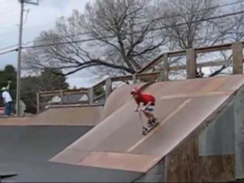 razor scooter tricks Shane Kelly learns 360 over box jump