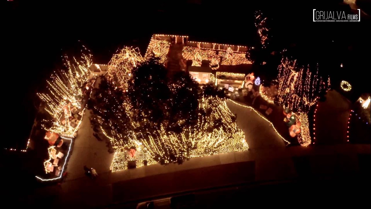 Aerial Above Garrison Street   Beautiful Christmas Lights Display