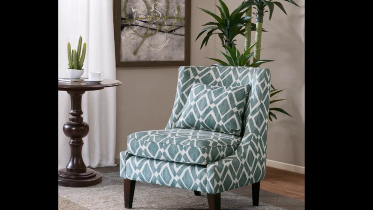 Accent Swoop Arm Chair Blue Turquoise White For Living Room Office Den