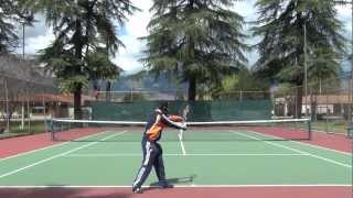Raonic serve demo: with closed stance #1 (Nine first serves in a row due to alignment)
