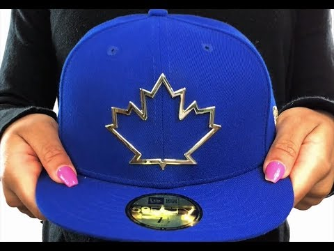 0bb2a683eb9 Blue Jays  GOLD FRAMED METAL-BADGE  Royal Fitted Hat by New Era ...