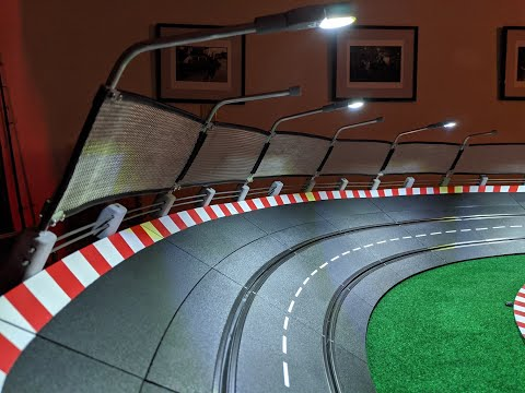 New Track Lighting, Guard Rail, and Catch Fence for Carrera Slot Car Track