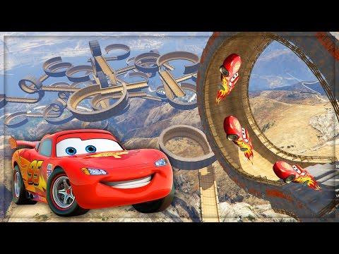 Disney Cars Lightning McQueen VS Worlds Biggest Ramp & Loops Stunt Challenge! #3 (GTA 5 Mods)
