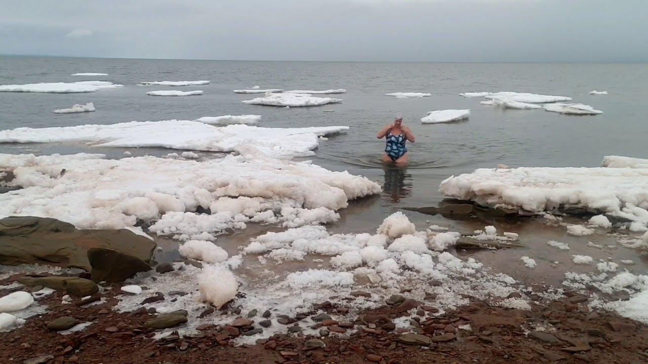 Chilly swim, Baie Verte sea ice
