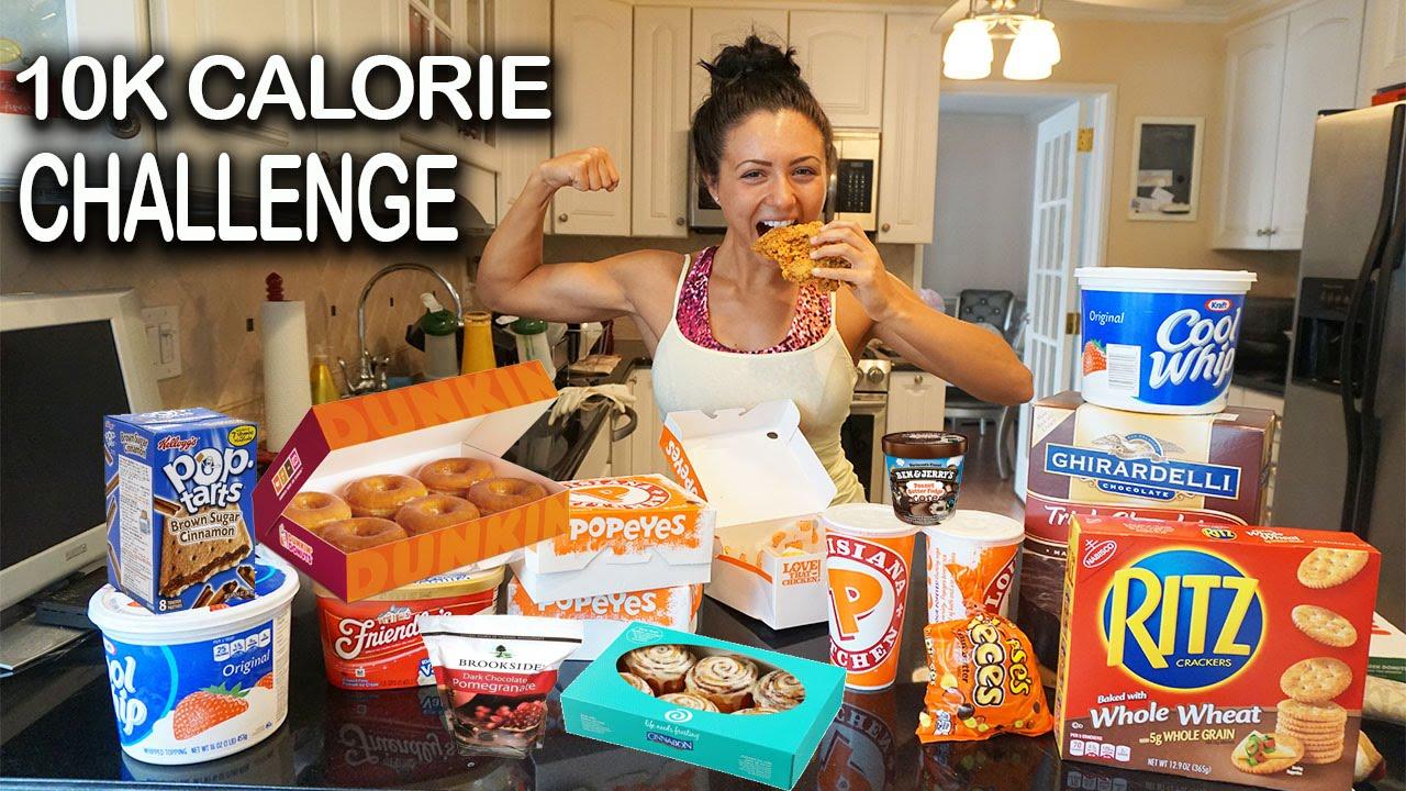 10K Calorie Challenge   Girl VS food   Epic Cheat Day   Ashley Nocera -  YouTube