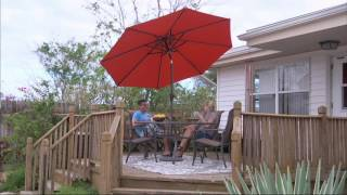 ATLeisure 9' Starlight Solar Market Umbrella with Cover on QVC