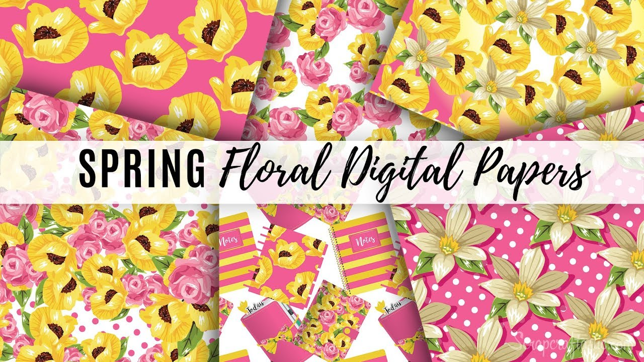 photo regarding Printable Pattern Paper referred to as Spring Florals Printable Behavior Papers and Absolutely free Favored Keep Printable Stickers Scraftastic