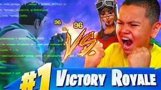 1V1 MY LITTLE BROTHER VS FORTNITE HACKER TRASHTALKER!! KAYLEN WAS SO SCARED OF THIS HACKER!!! 😂