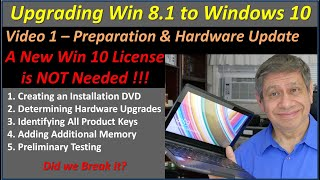 Upgrading a Laptop from Win 8 to Win 10 – No New License Needed – Video 1 of 2, Preparation