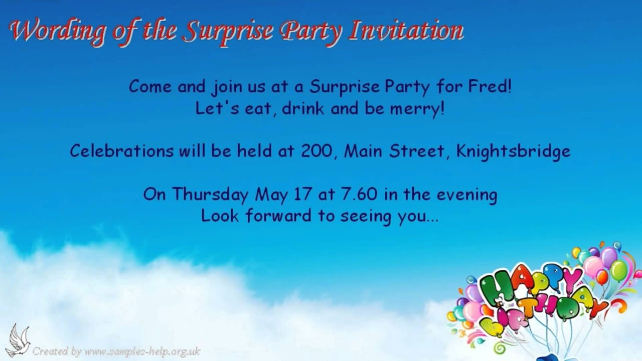 Surprise party invitation wording youtube surprise party invitation wording stopboris Images