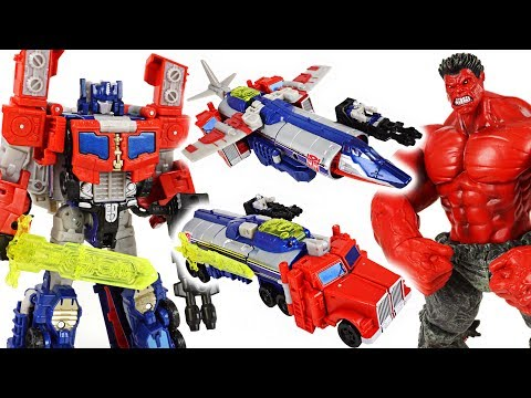 Marvel Red Hulk is angry! Transformers Titan Return Optimus Prime triple change! Go! - DuDuPopTOY