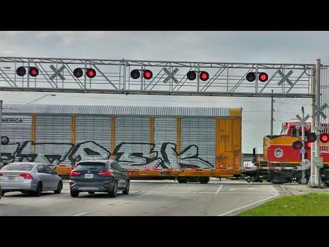 Huge Railroad Crossing & Long Train