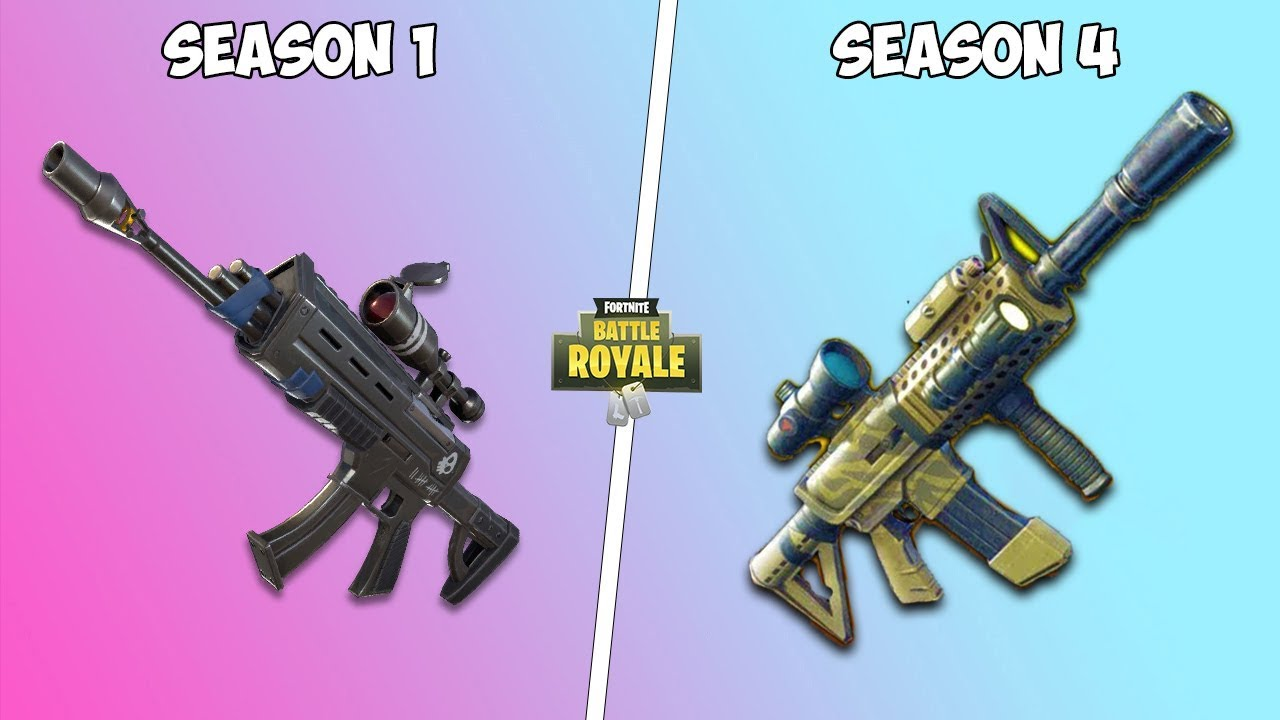 Evolution of weapons in Fortnite ! Season 1 - Season 4 - YouTube