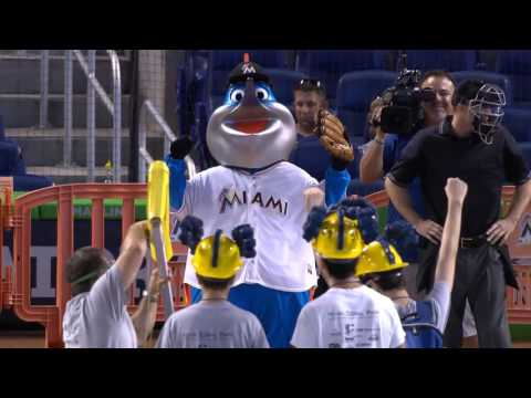 Students design catapult to throw out first pitch at Miami Marlins game