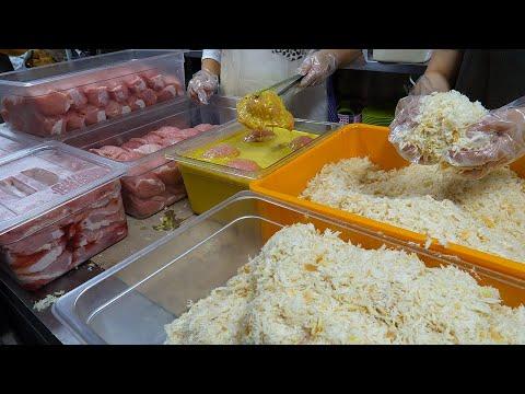 줄서서 먹는 치즈돈까스, 치즈떡갈비 / cheese pork cutlet, cheese Tteokgalbi - korean street food