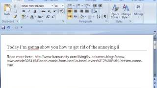 how to remove annoying line break in microsoft word document in a single step